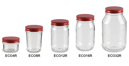 Mason Jars (Canning Jars) with Red Lids